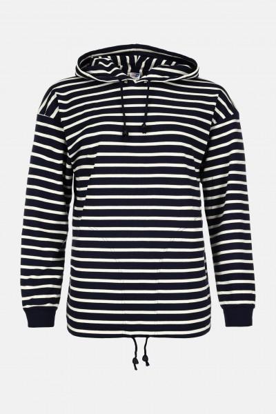 Damen Kapuzen-Shirt Gestreift Baumwolle - blau/ecrugestreift