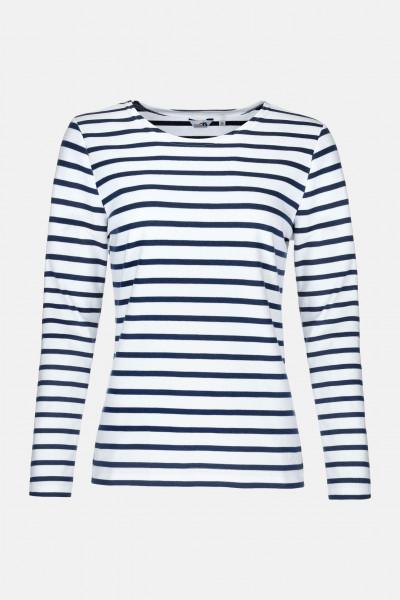 Streifenshirt Damen Langarm Weiß-Blau Gestreift Ringelshirt