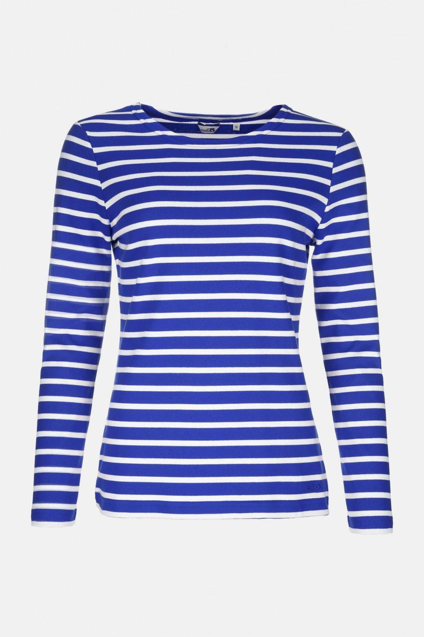 Streifenshirt Damen Langarm Royal-Weiß Gestreift Ringelshirt