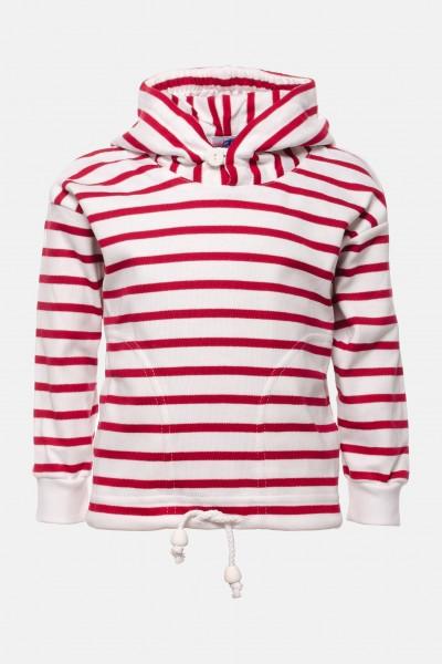 Bretonisches Kinder-Kapuzenshirt - weiß/rotgestreift