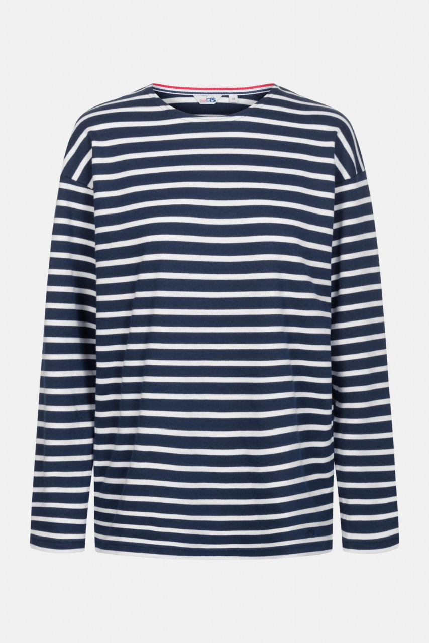 Streifenshirt Herren Langarm Blau-Weiß Gestreift Ringelshirt