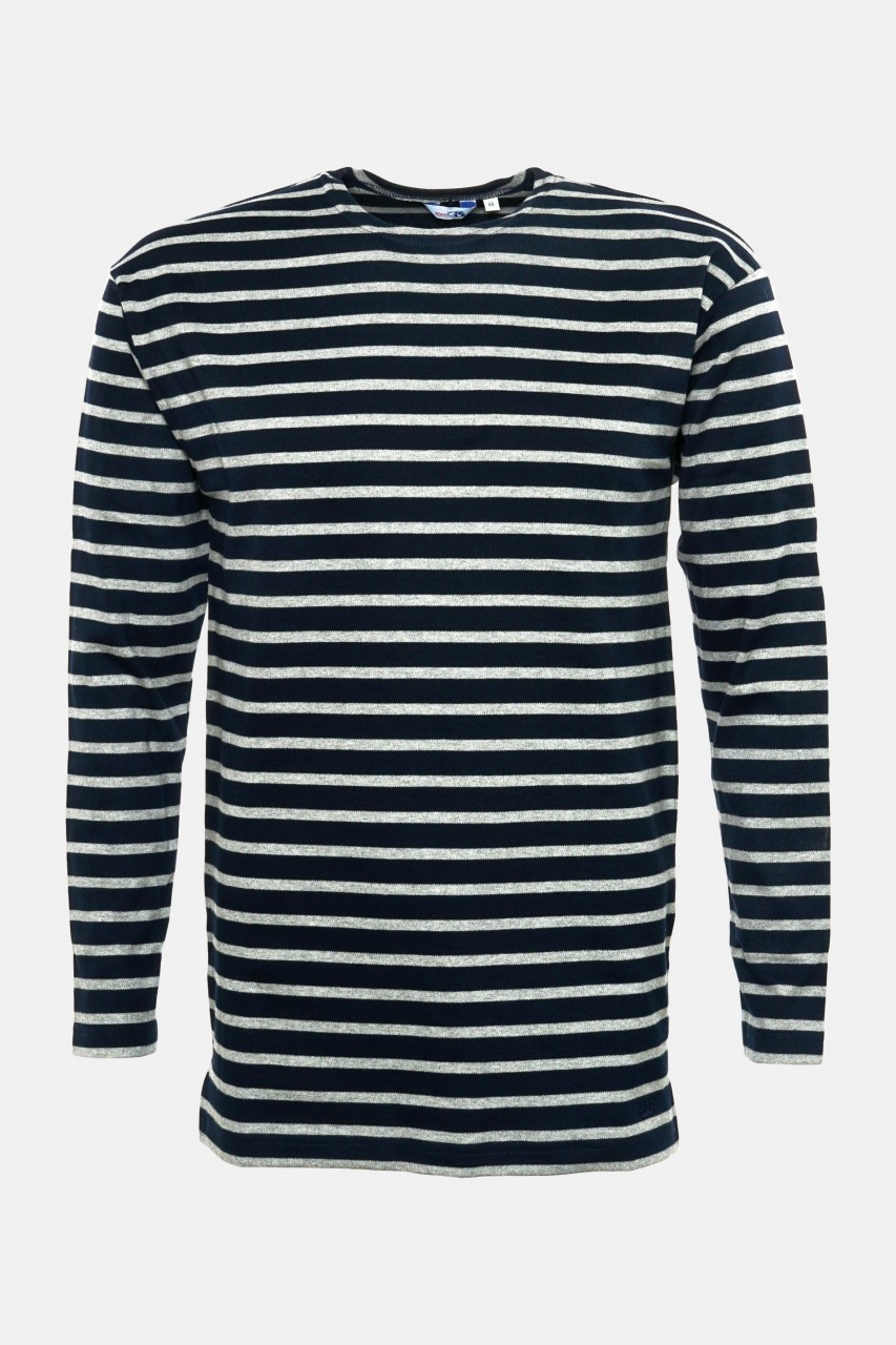 Streifenshirt Herren Langarm Blau-Grau Gestreift Ringelshirt