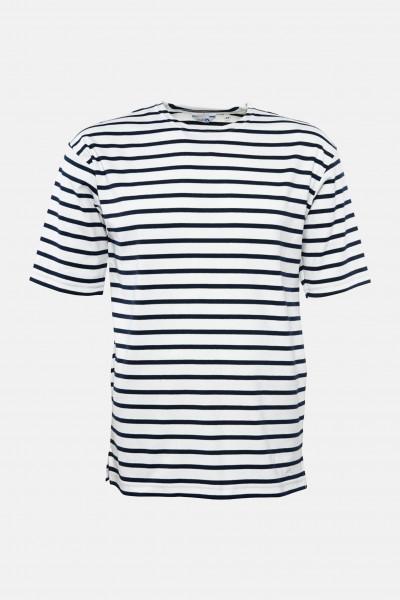 Streifenshirt Herren Kurzarm Weiß-Blau Gestreift Ringelshirt