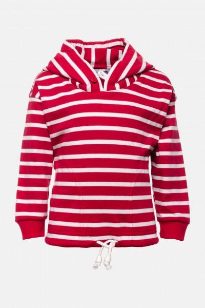 Bretonisches Kinder-Kapuzenshirt - rot/weissgestreift