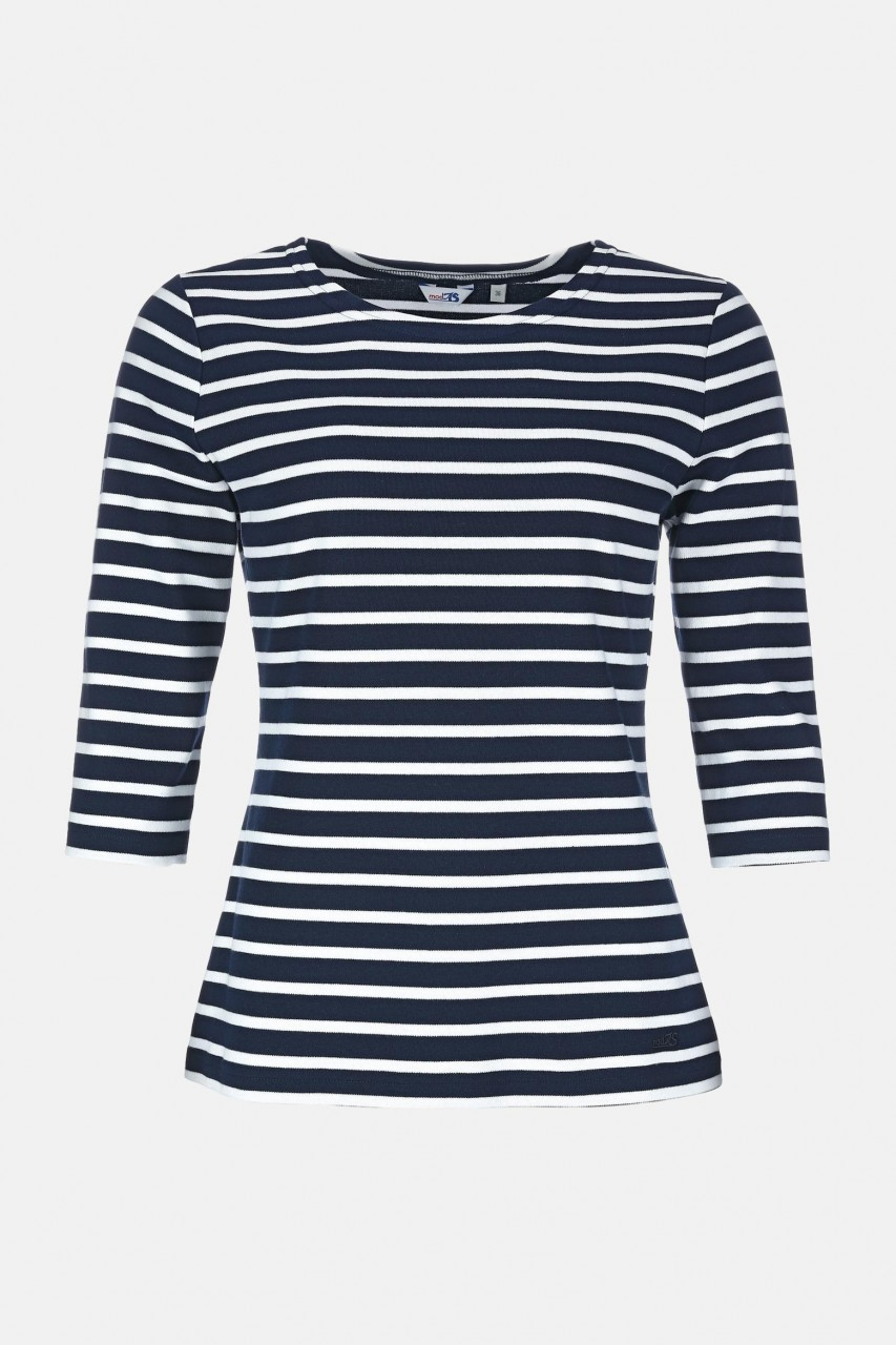 Streifenshirt Damen 3/4-Arm Blau-Weiß Gestreift Ringelshirt