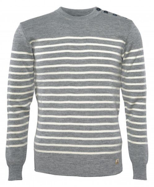 Armor Lux Bretonischer Pullover Herren Grau-Natur-Gestreift