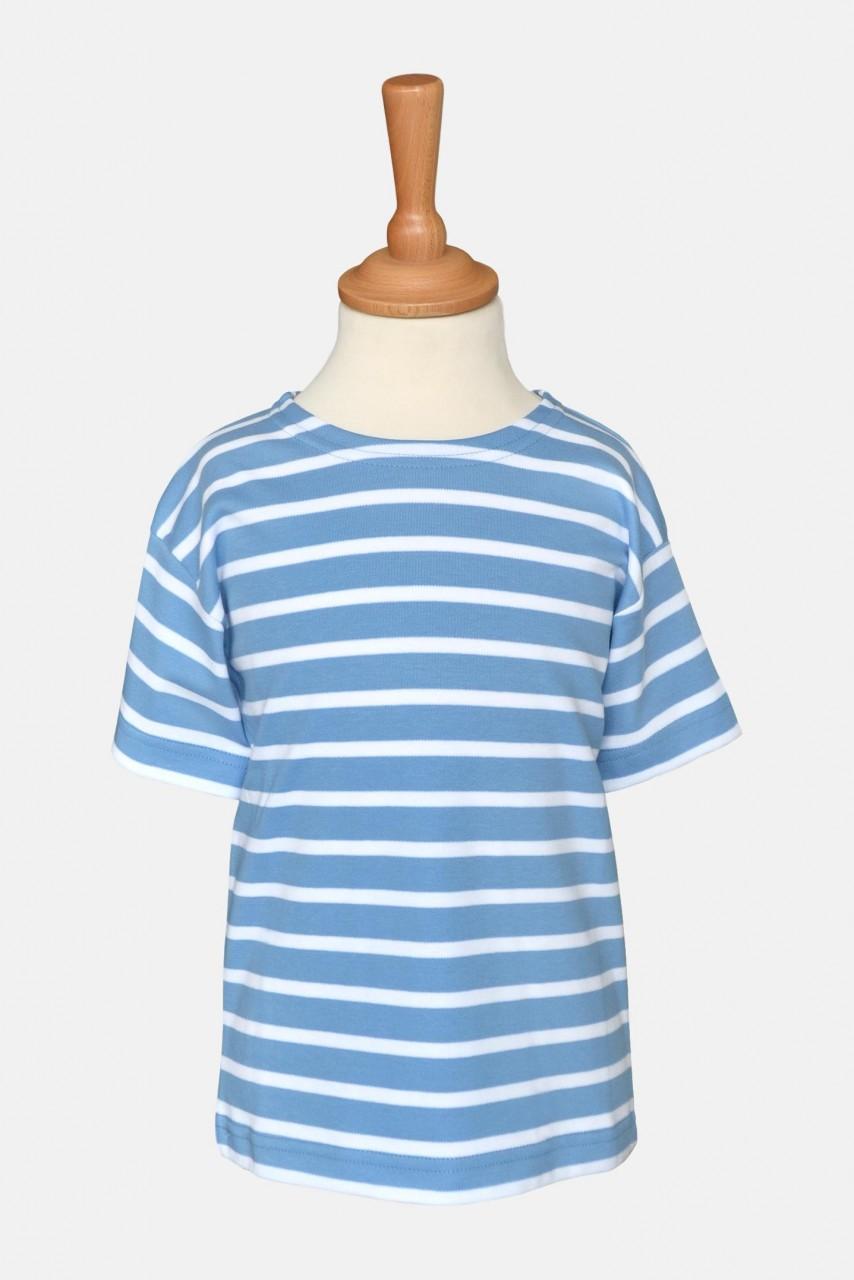 Bretonisches Kinder T-Shirt - mittelblau/weißgestreift