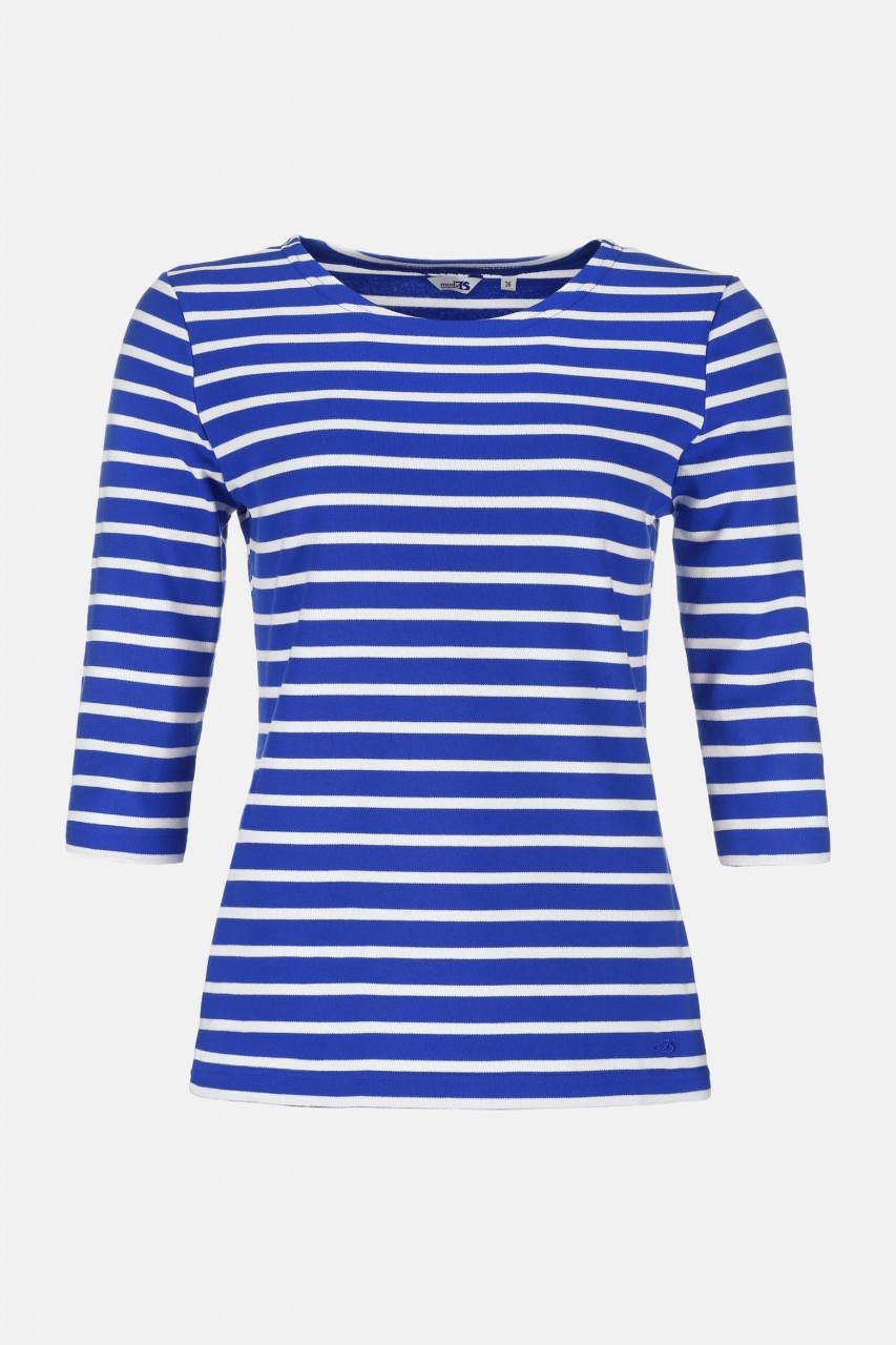 Streifenshirt Damen 3/4-Arm Royal-Weiß Gestreift Ringelshirt