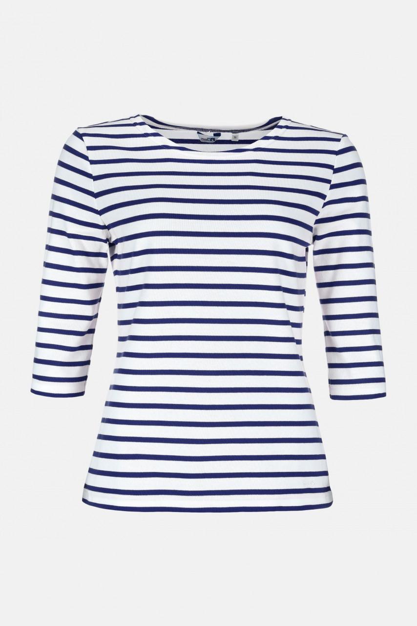 Streifenshirt Damen 3/4-Arm Weiß-Blau Gestreift Ringelshirt